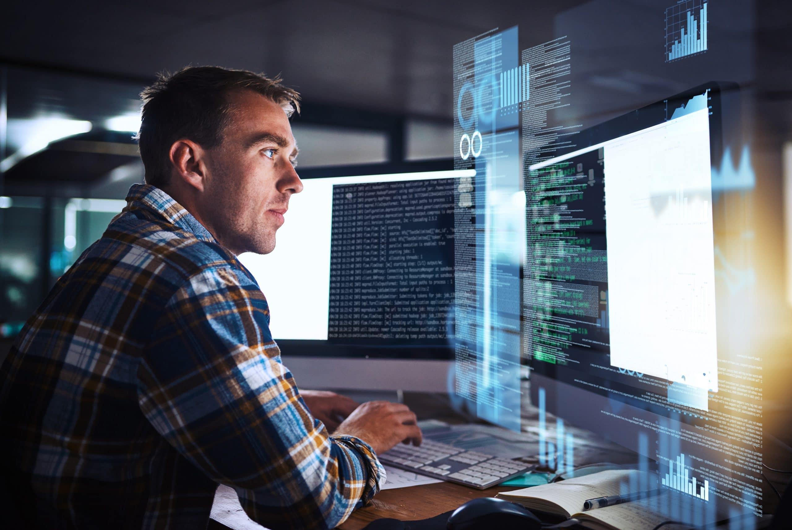 Mitarbeiter entwickelt Software, computer grafics
