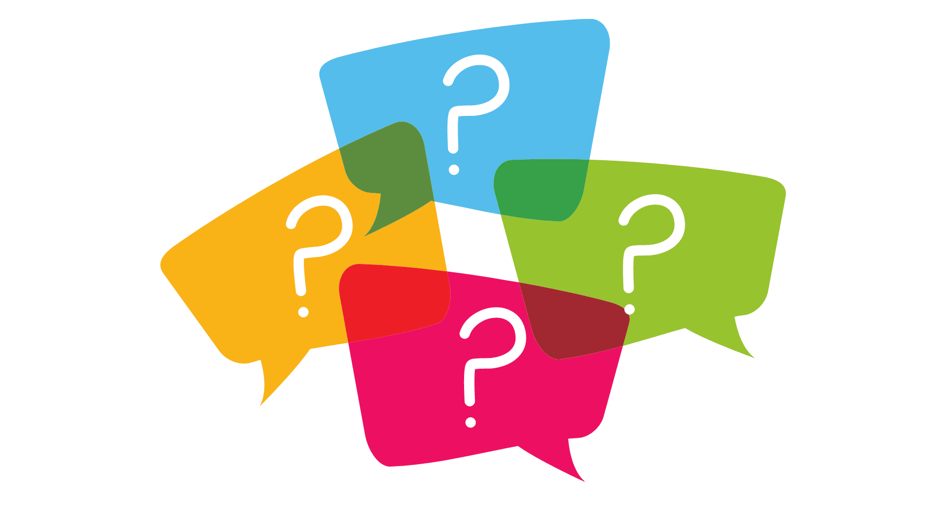 Fragezeichen in Sprechblasen für unser Bewerber FAQ
