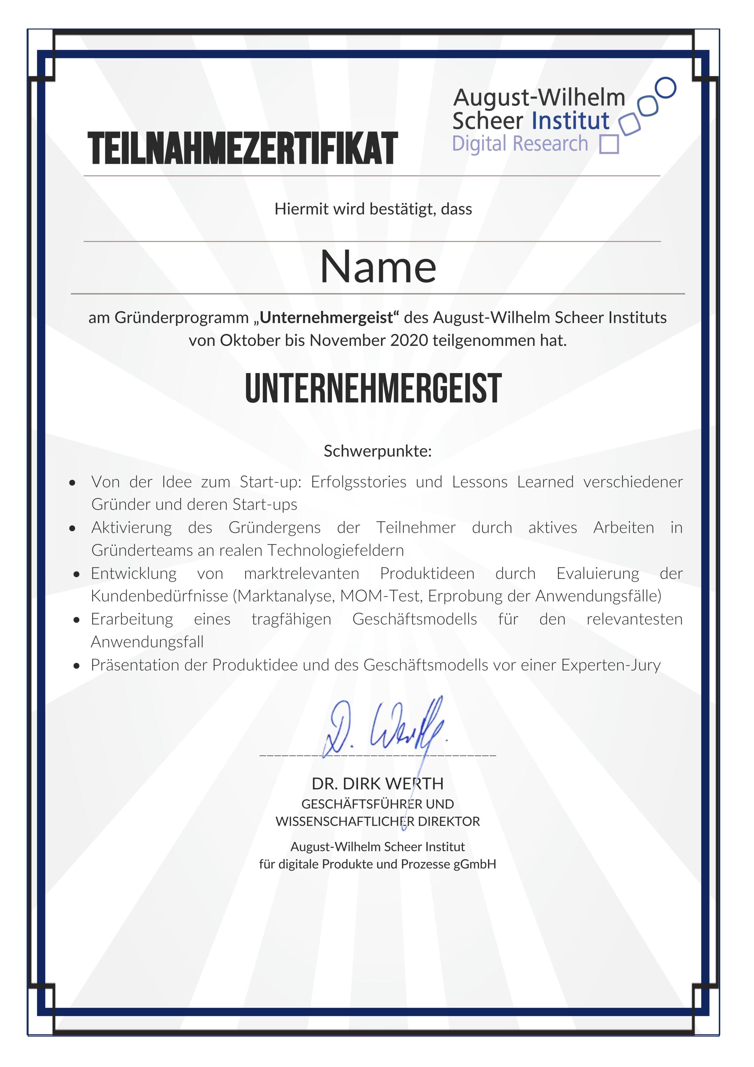 Zertifikat Unternehmergeist