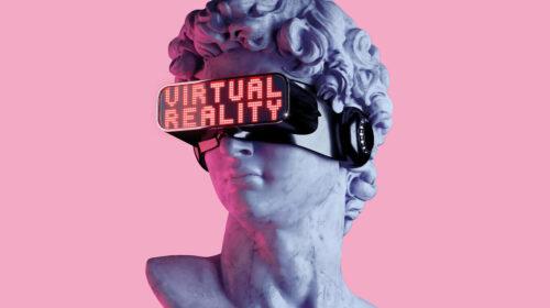 Statue mit VR Brille
